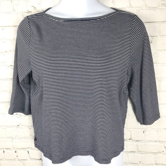 Lauren RL Plus Navy/White Striped Boatneck Top
